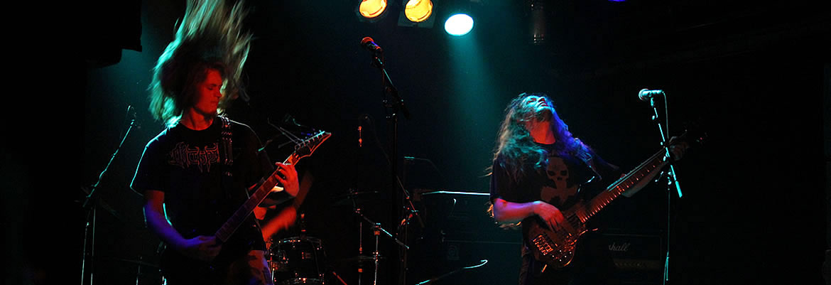 Dutch death metal band Bloodgod live in concert
